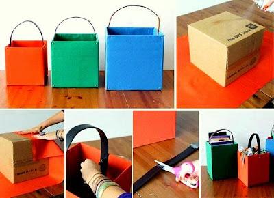 Ini Idea Kreatif Barang Terbuang Dengan Kaedah Kitar Semula Kotak Untuk Di Jadikan Tempat Simpanan Yang Berguna Dan Menarik
