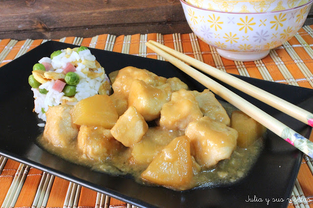 Polo con piña estilo chino. Julia y sus recetas