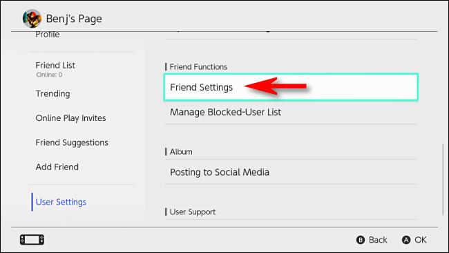 """في تبديل إعدادات المستخدم ، حدد """"إعدادات الأصدقاء""""."""
