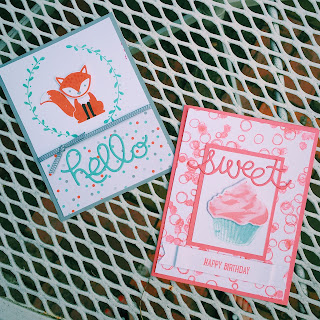 spread joy stamping cards using foxy friends and sweet cupcake