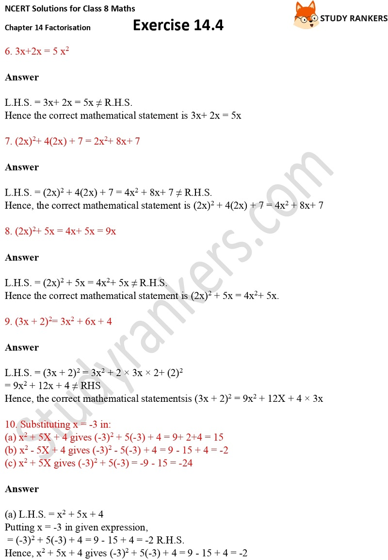NCERT Solutions for Class 8 Maths Ch 14 Factorization Exercise 14.4 2