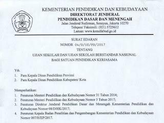 Surat Dirjen tentang Ujian Sekolah Berstandar Nasional bagi SPK