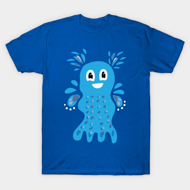 t-shirt with a cute blue sea creature character
