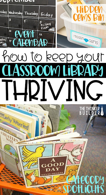 Learn seven keys to a thriving classroom library as well as a slew of practical ideas to keep your library a vibrant, organized, favorite place in your classroom ALL YEAR. (The Thinker Builder)