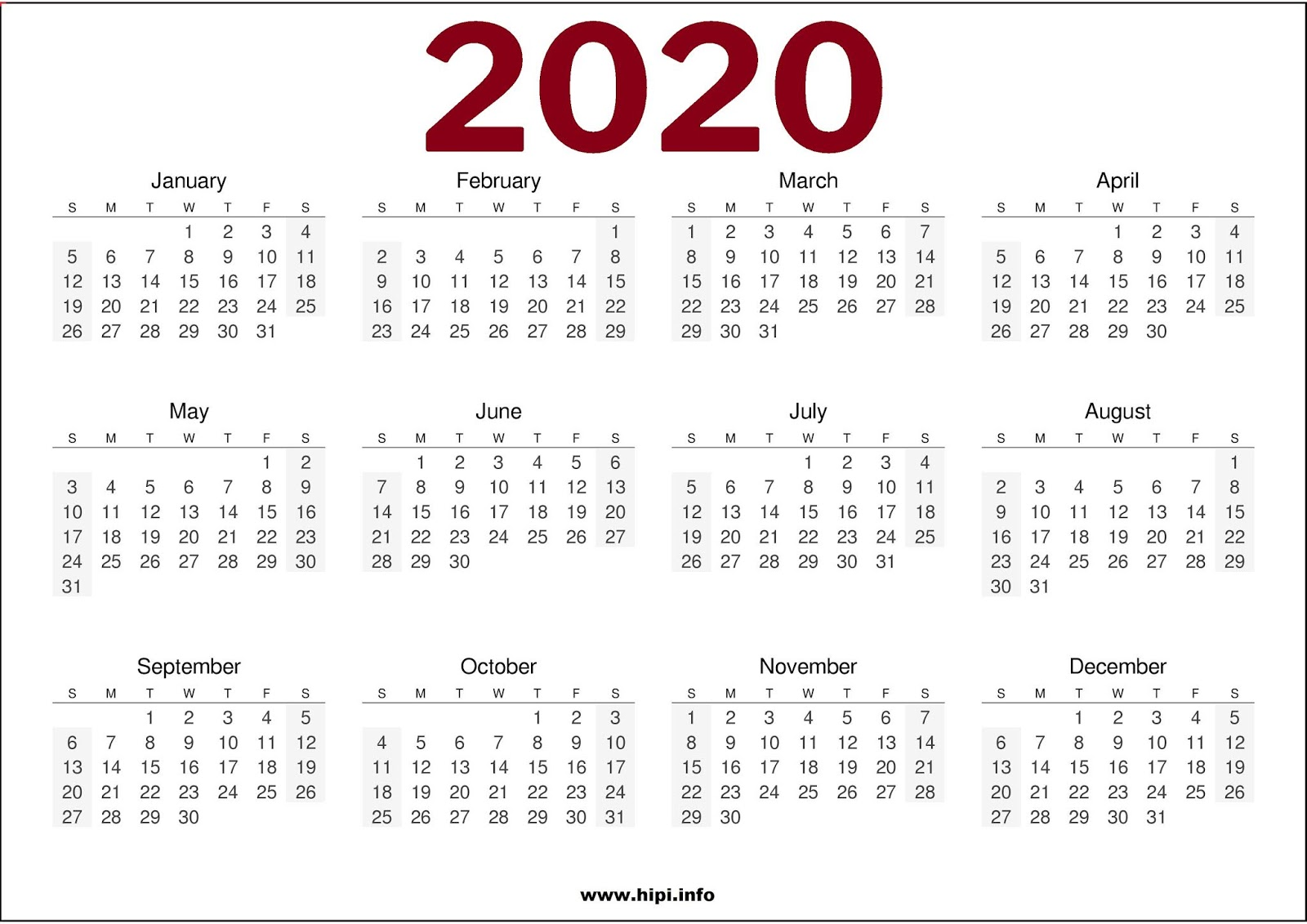 1 Page Calendar 2020 Twitter Headers / Facebook Covers / Wallpapers / Calendars: 2020
