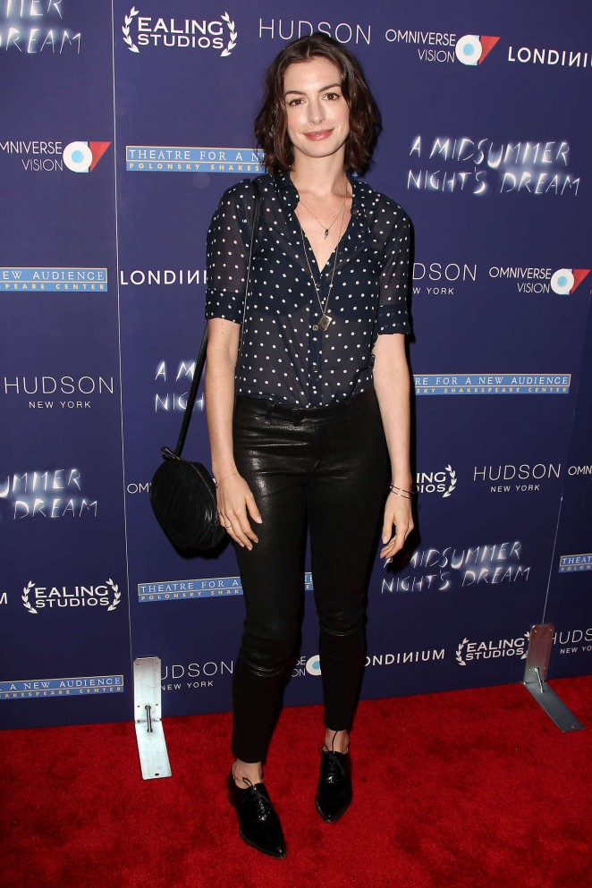 Anne Hathaway in a sheer blouse at the 'A Midsummer Night's Dream' NYC Premiere