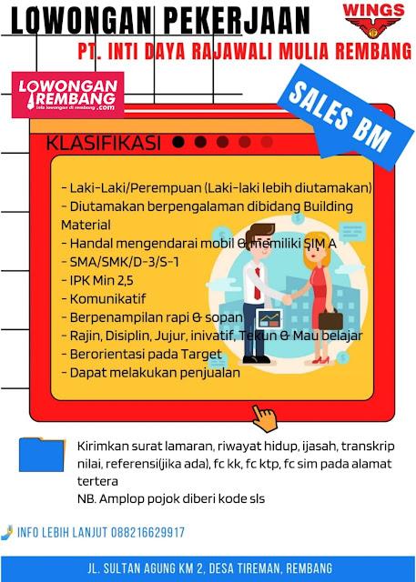 Lowongan Kerja Sales BM PT Inti Daya Rajawali Mulia Rembang
