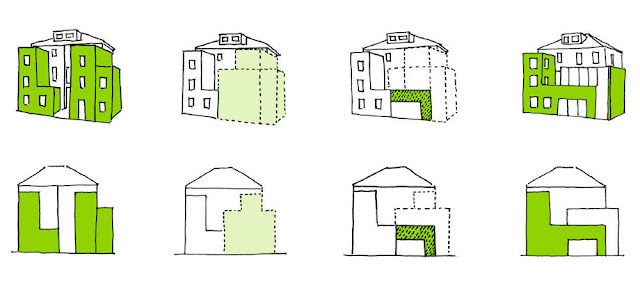 Drawing showing how old house was transformed into the modern London house