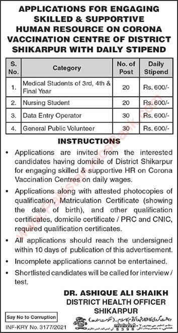 Health Department Shikarpur Jobs 2021 in Pakistan - Shikarpur Health Department Jobs 2021