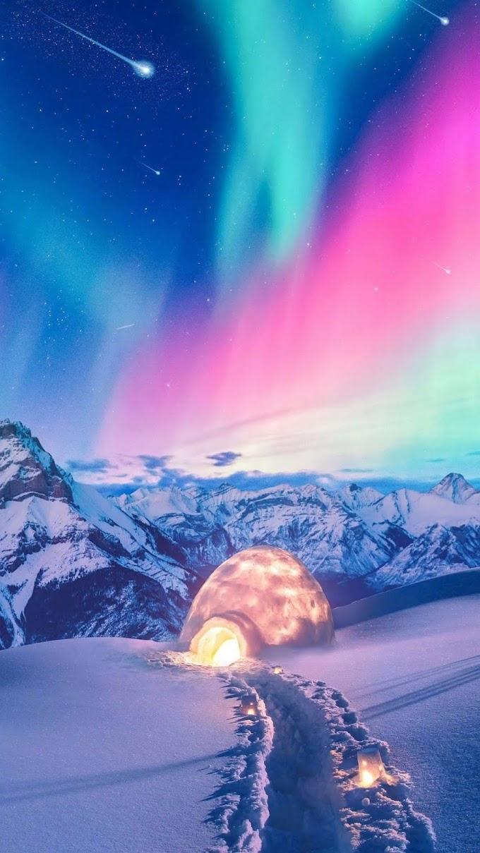 Plano de Fundo Aurora Boreal Rosa e Verde para Celular