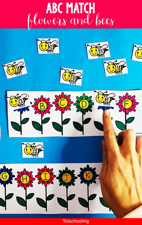 FREE printable Alphabet matching activity for preschool and kindergarten kids to practice letter recognition, both uppercase and lowercase included. Great for a Spring or Summer or Bee theme!