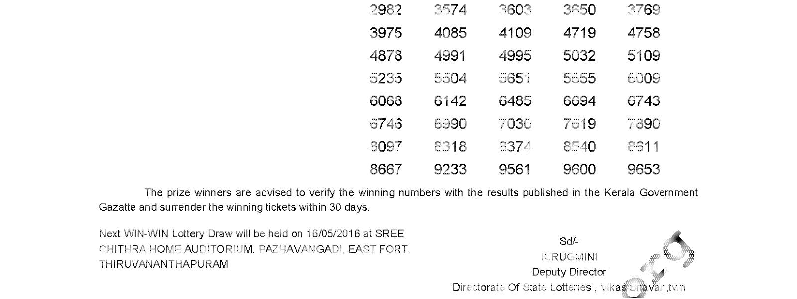 WIN WIN Lottery W 359 Result 9-5-2016