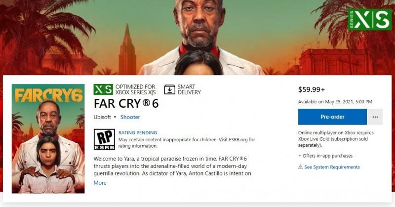 According to Xbox Live, Far Cry 6 will be released on May 25, 2021