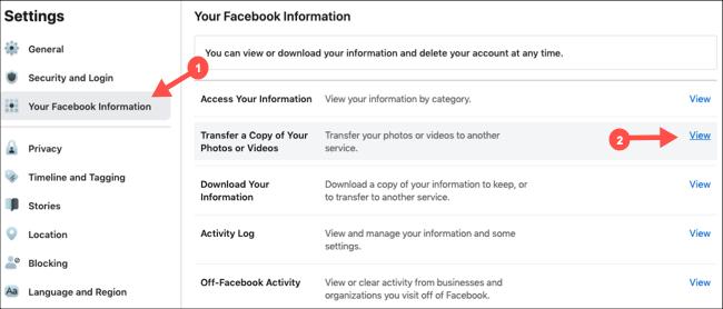 حدد نقل نسخة من الصور ومقاطع الفيديو في إعدادات Facebook
