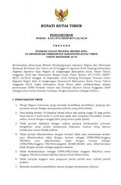 Pendaftaran CPNS Di KUTAI TIMUR Tahun 2018