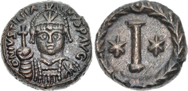 10 nummia de Justiniano