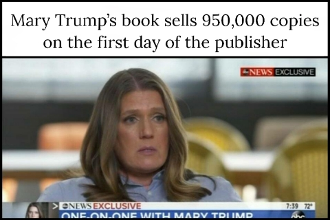 Mary Trump's book sells 950,000 copies on the first day of the publisher