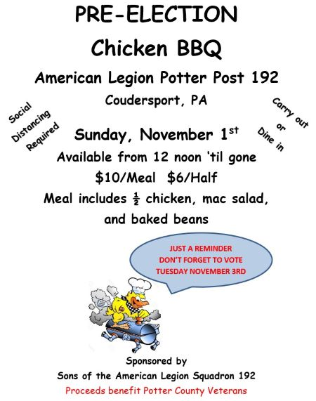 11-1 Pre-Election Chicken BBQ At The American Legion In Coudersport