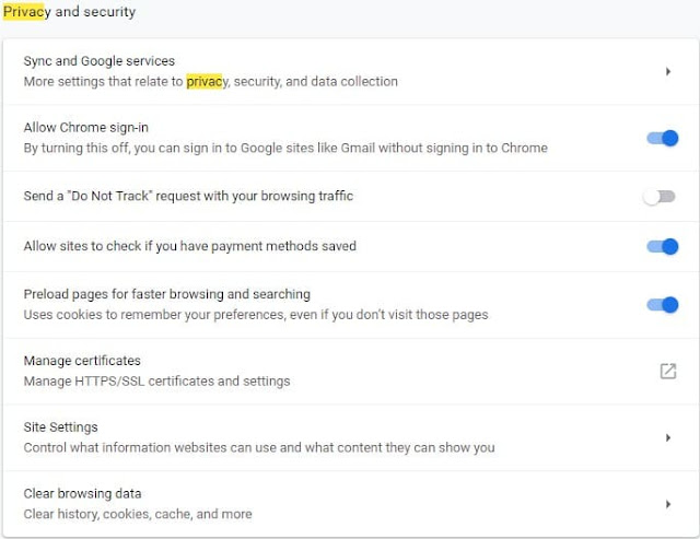 Privacy and Security Chrome