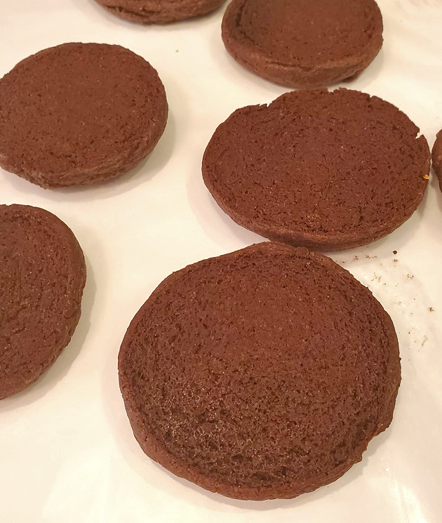 these are chocolate half moon cookies cooling