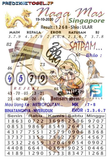 Syair SGP Nagamas Senin 19 Oktober 2020
