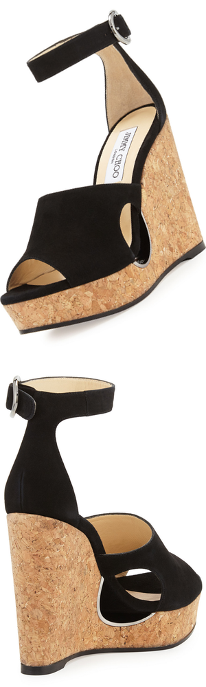 Jimmy Choo Neyo Suede/Cork Ankle-Wrap Wedge Sandal