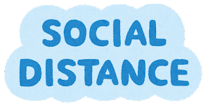 「SOCIAL DISTANCE」のマーク(枠あり)