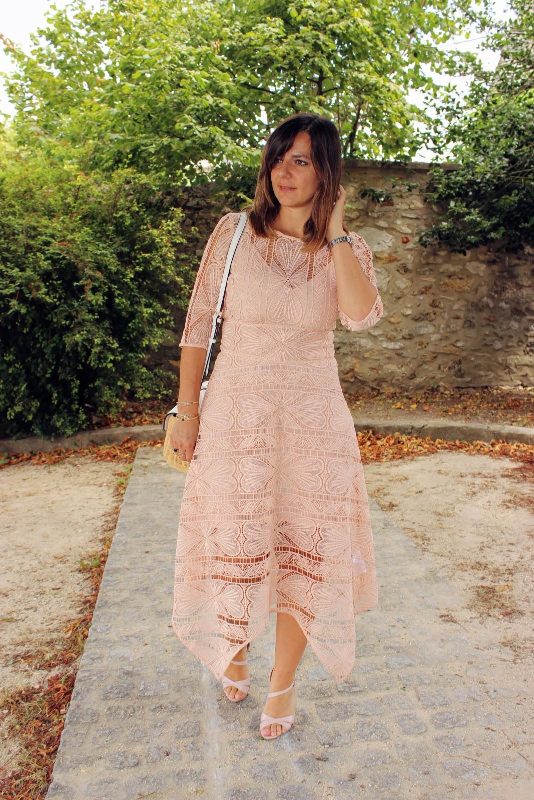 robe rose en gripure Maje, les petites bulles de ma vie