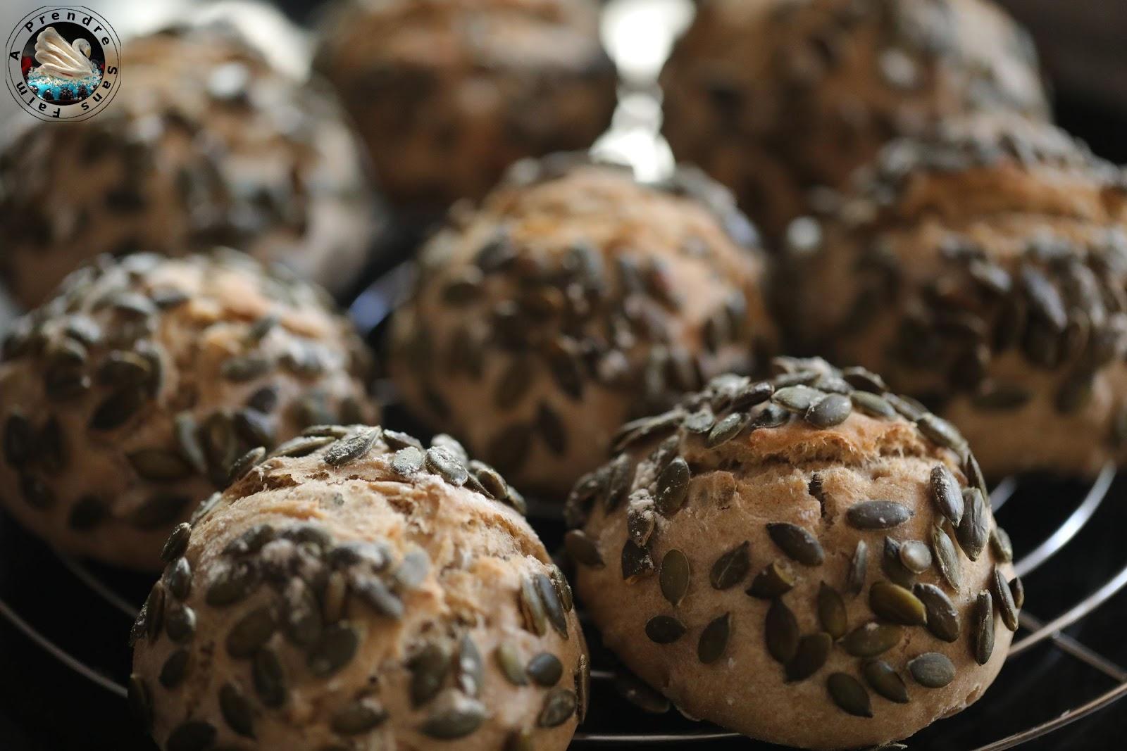 Petits pains au levain et graines de tournesol