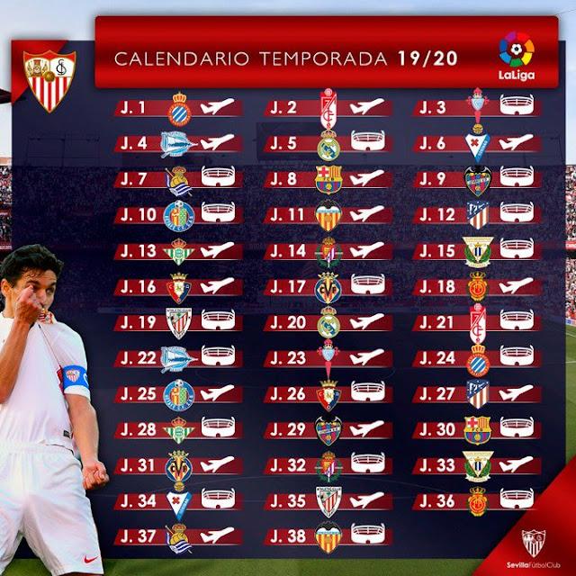 Calendario Sevilla Fc 2020.Calendario De Liga Sevilla Fc 19 20 Javisfc Com