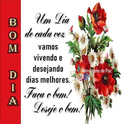 Um dia de cada vez vamos  vivendo e desejando  dias melhores.  Faça o bem!  Deseje o bem!  Bom Dia!