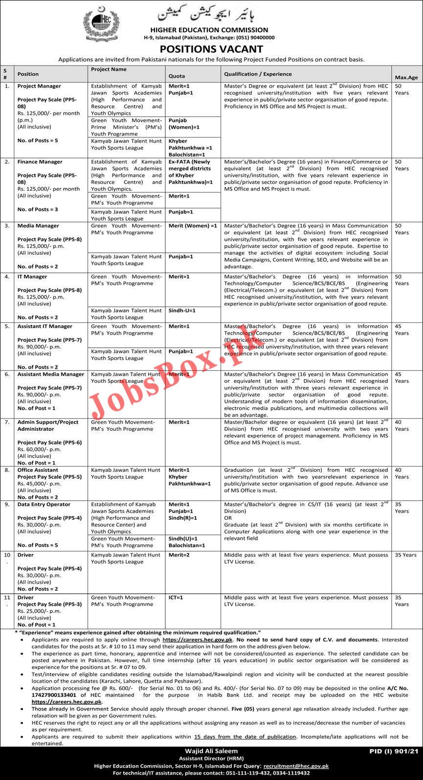 https://careers.hec.gov.pk - HEC Job Portal - HEC Jobs 2021 Advertisement - HEC Careers