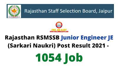Sarkari Result: Rajasthan RSMSSB Junior Engineer JE (Sarkari Naukri) Post Result 2021 - 1054 Job