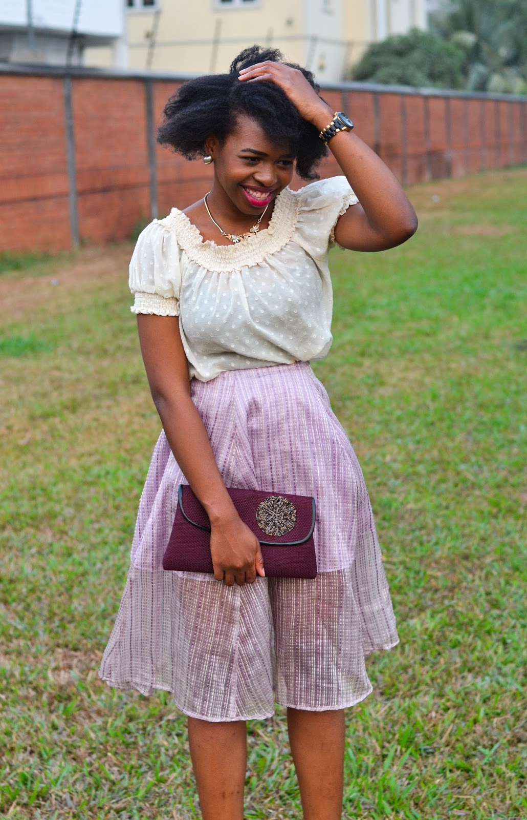 Flared Lilac Skirt with Ruffled Cream Shirt on WOC