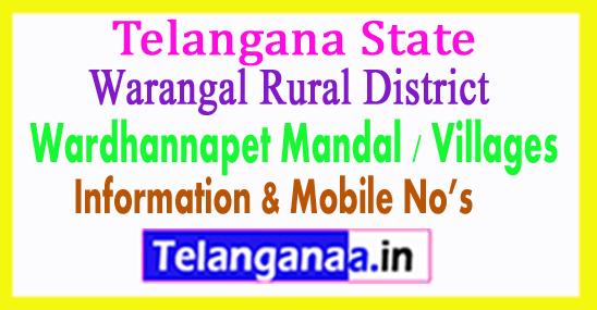Wardhannapet Mandal Villages in Warangal Rural District Telangana