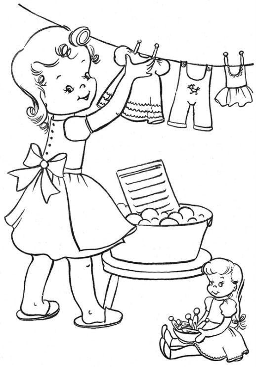 Hình tô màu bé phơi quần áo