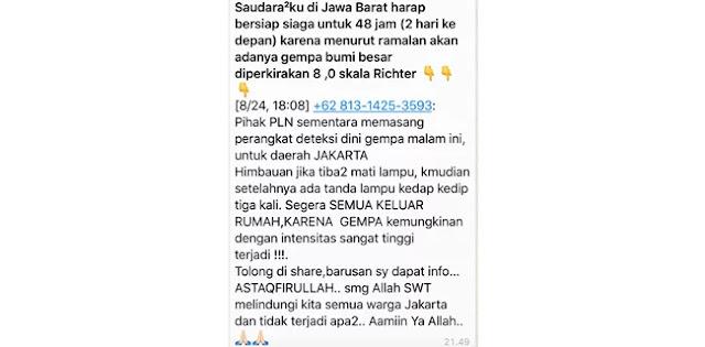 Beredar Peringatan Gempa Besar di Jakarta dan Jabar, Ini Kata Humas BNPB