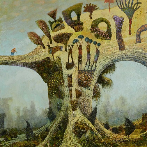 """""""Topiary Garden"""" painting by Simon Garden- Oil on Panel, 2017 