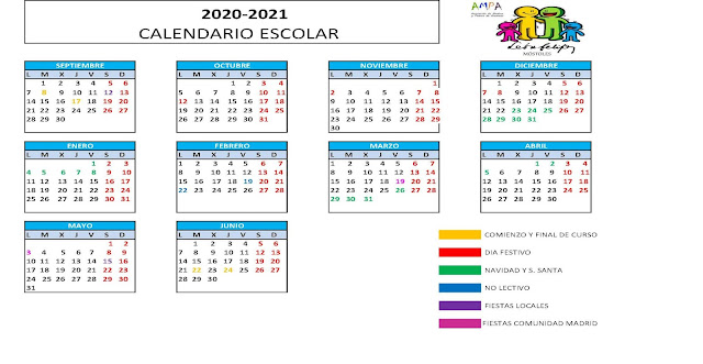 Calendario lectivo 20/21