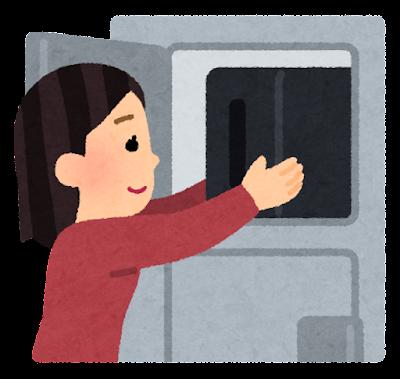 ロッカーに荷物をしまう人のイラスト(女性)