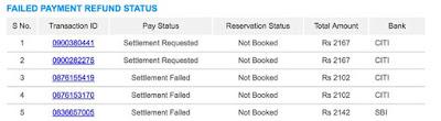 Irctc failed ticket transaction history