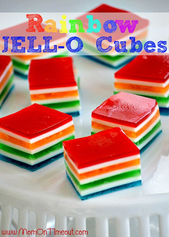Rainbow JELLO Cubes from Mom On Timeout