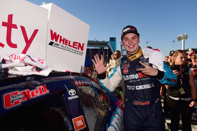 Christopher Bell poses with the winner's decal on his car in Victory  Lane after winning the NASCAR Xfinity Series 'Whelen Trusted To  Perform 200' in Phoenix, Arizona.