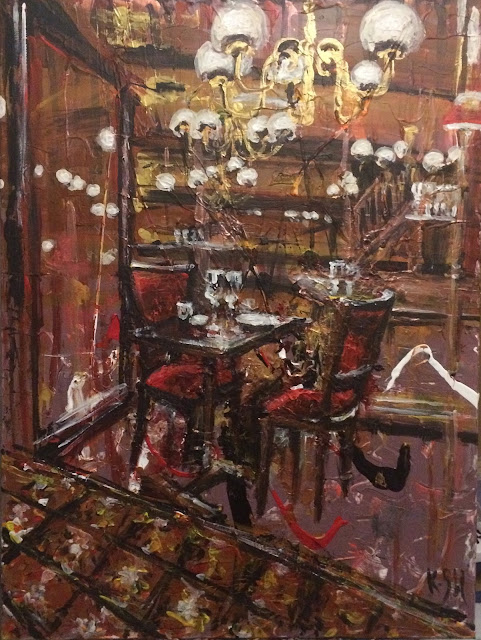 le café du levant à Bordeaux peint à l'écrylique sur toile par l'artiste Karine Babel.