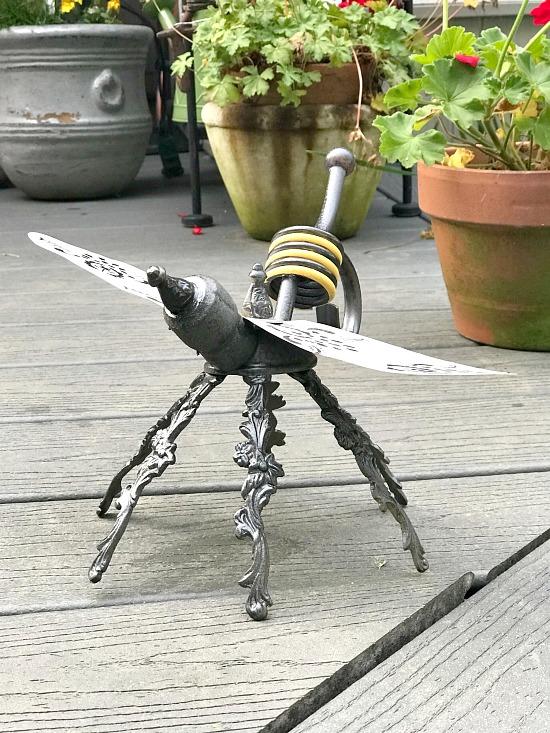 DIY yellow and black repurposed garden bee ornament