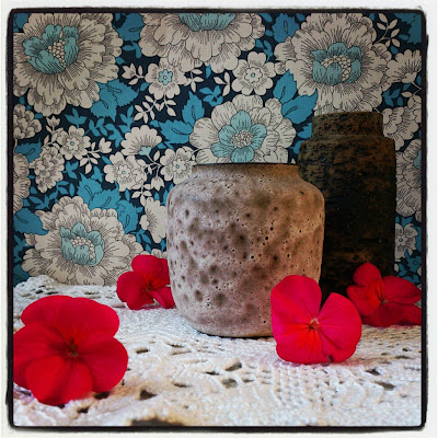 ByHaafner, vase, thrifted, blue wallpaper with flowers, doily, neon pink, pink flowers, crochet, instagram