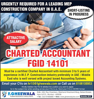 Charted Accountant for MEP Cons Company in UAE
