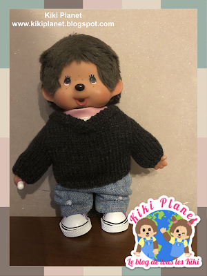 kiki monchhichi pull knitted sweater tricot handmade fait main doll poupée clothes