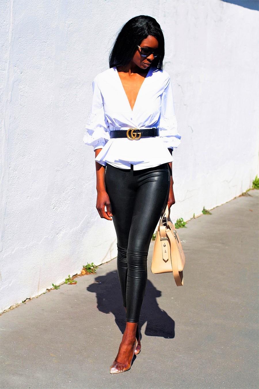 pantalon-cuir-chemise-manches-bouffantes-sac-kenzo-escarpins-perspex