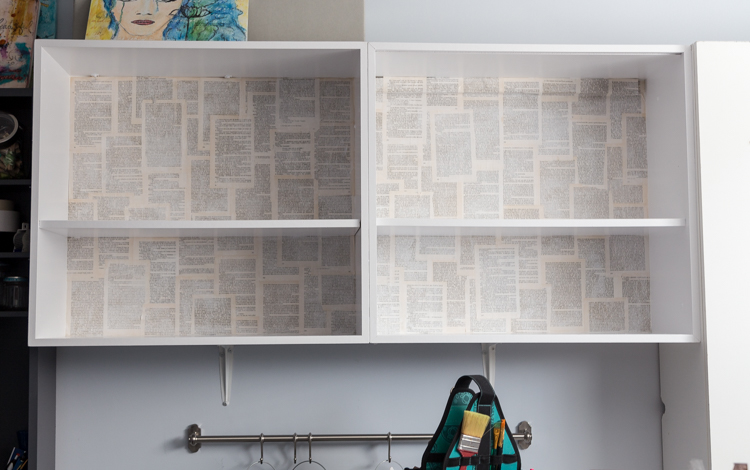 Easy upgrade of an ordinary shelf unit   Old book pages   mod podge   DIY   Home Decor   Craft Room   Organization   One Room Challenge